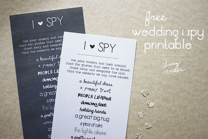 Free \'I Spy\' Wedding Printable | Living YOUR Creative | Engagement ...