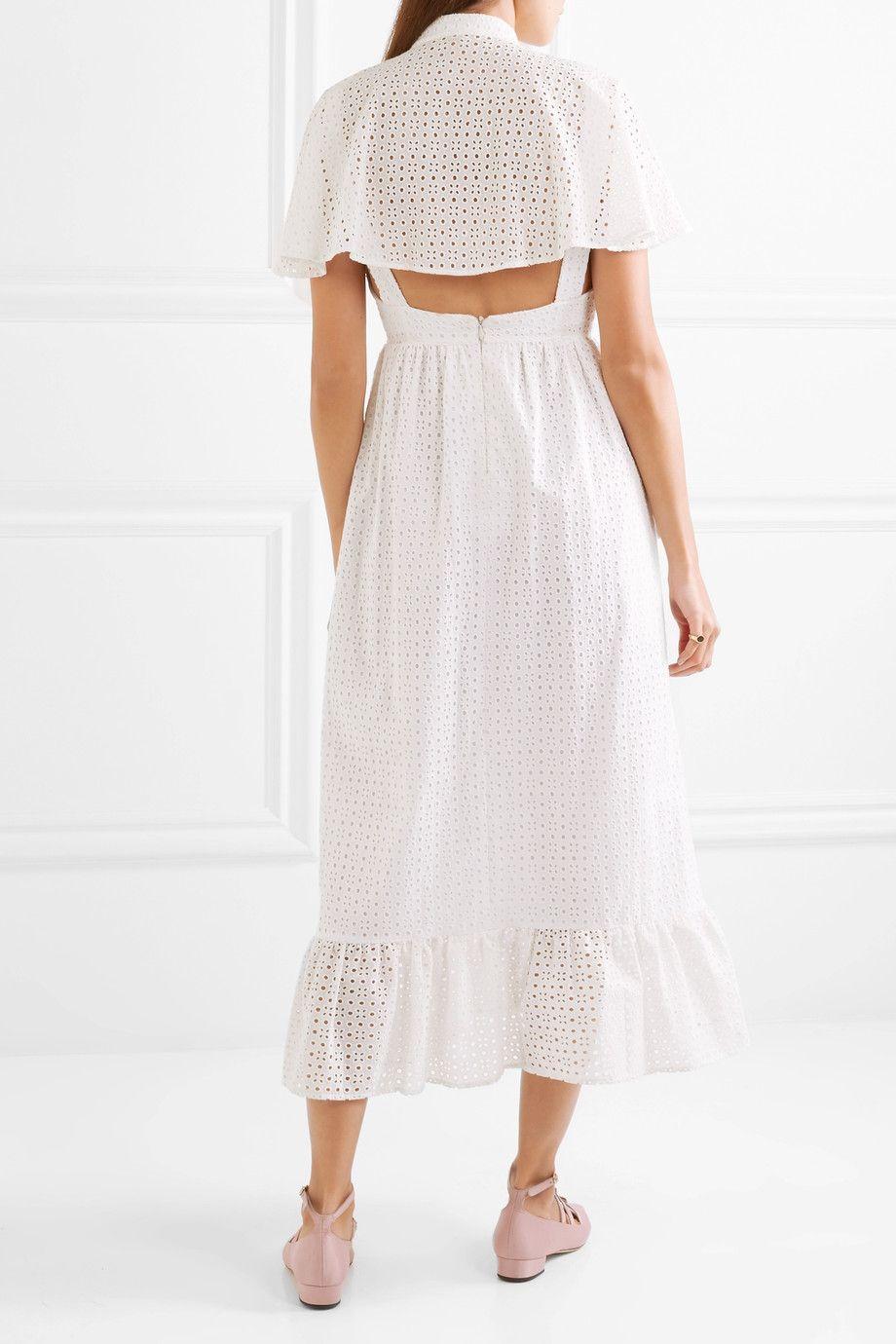 Alexachung capeback broderie anglaise cotton midi dress neta