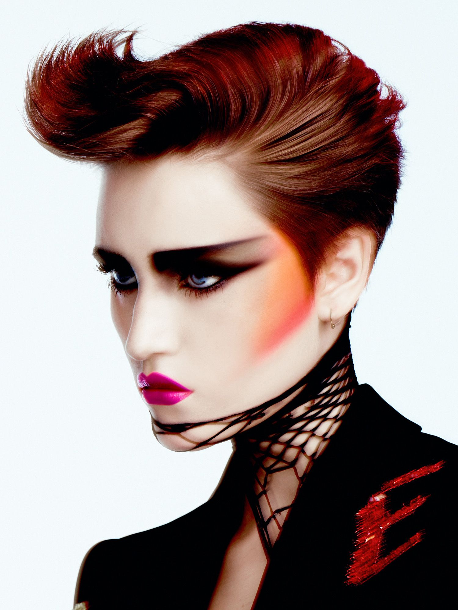 Dark Vibes - No discretion here with over the tops brows in geometric shapes and bright hot pink lips. #makeup #80's