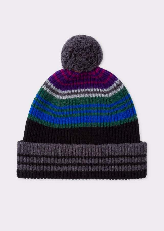 a061592bdfc Paul Smith Men s Black Ribbed Lambswool Beanie Hat With Stripes ...