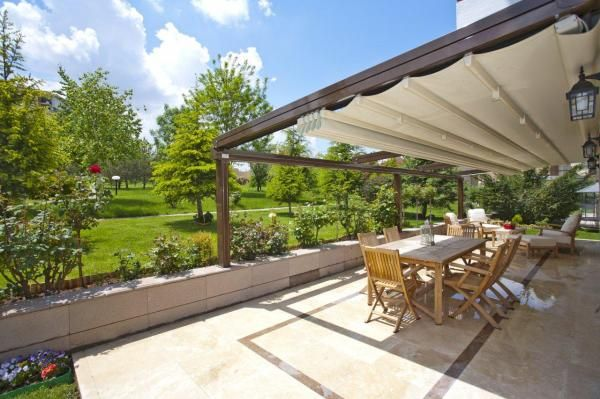 Sunlux Retractable Pergola Awning with integrated gutter - Sunlux Retractable Pergola Awning With Integrated Gutter Garden