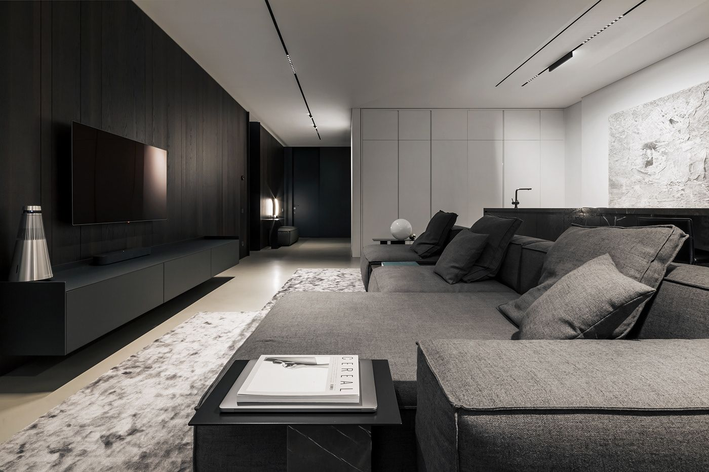 Minimalist Style Home In Kiev On Behance Minimalism Interior Living Room Designs House Interior Decor