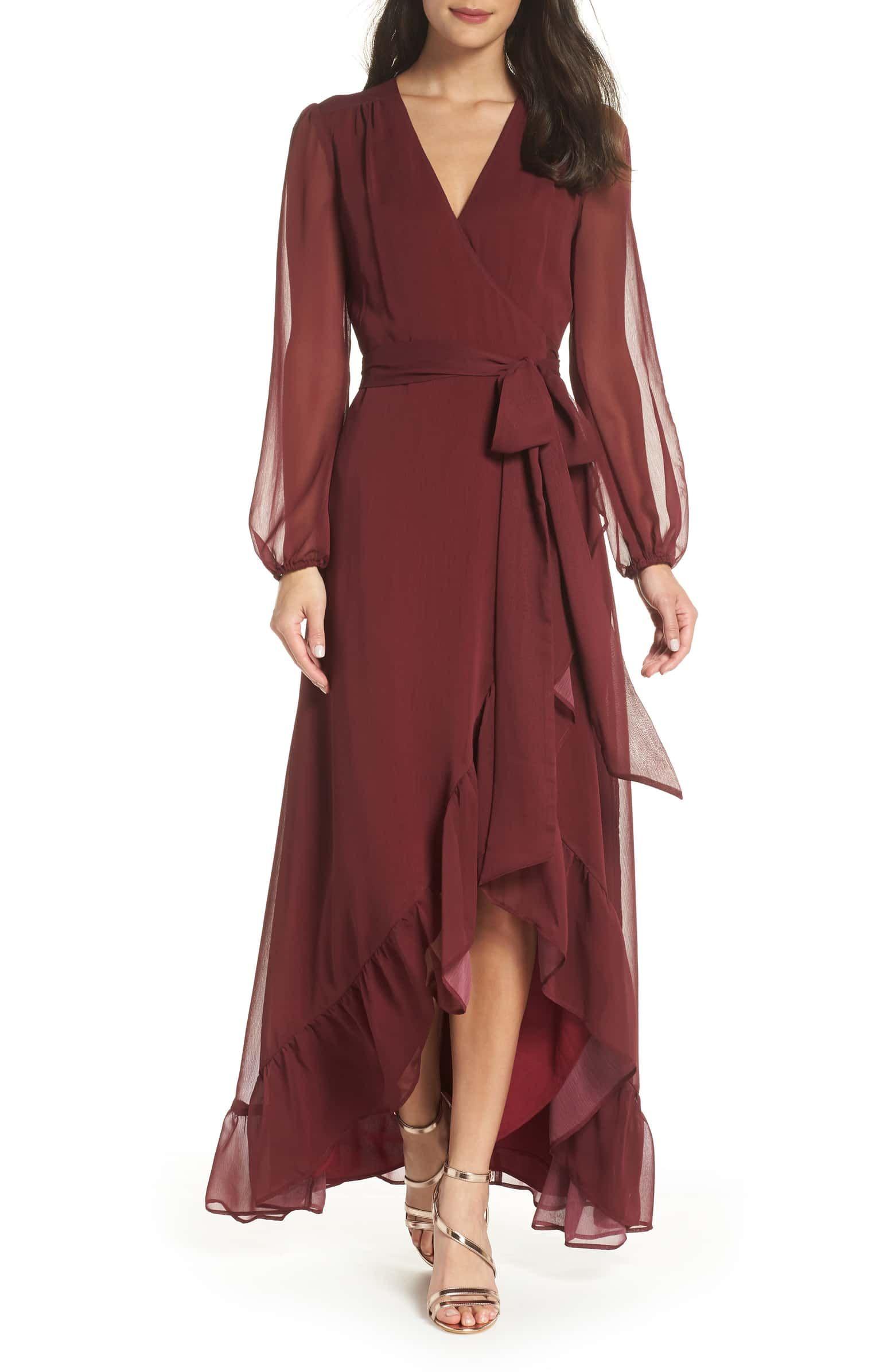 Wayf Meryl Long Sleeve Wrap High Low Gown Nordstrom Winter Wedding Guest Dress Guest Attire Wedding Guest Dress [ 2392 x 1560 Pixel ]