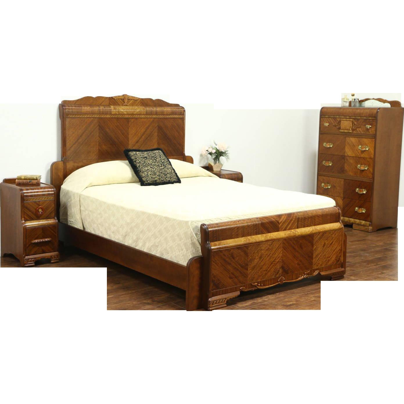 Waterfall Art Deco Vintage Bedroom Set, Queen Size Bed