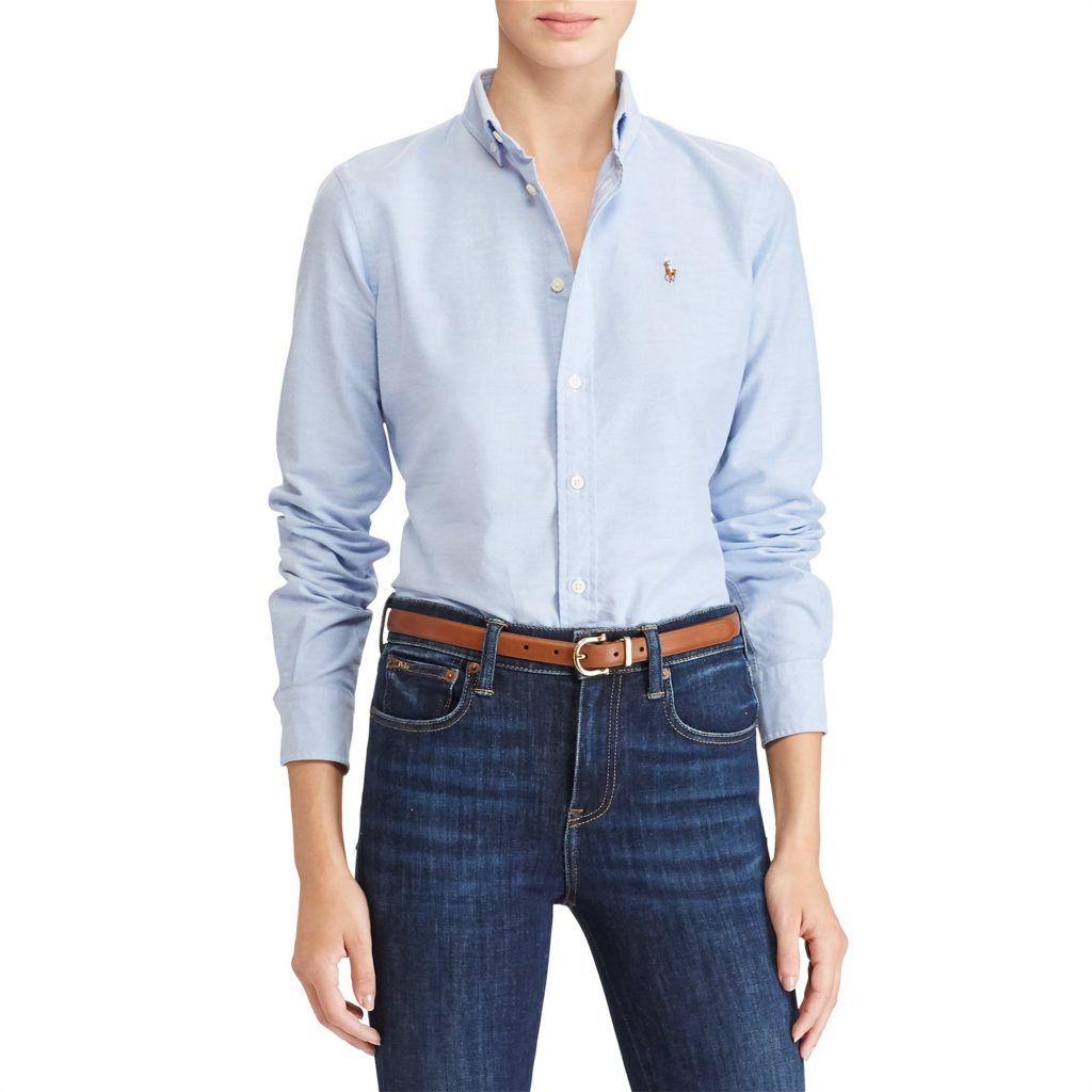 40b563a8bce5 Polo Ralph Lauren γυναικείο πουκάμισο γαλάζιο Slim Fit Cotton Oxford ...