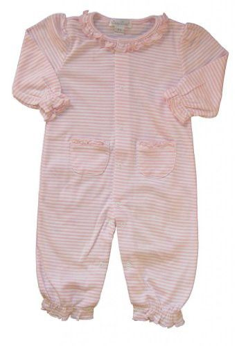 d1612a65e Kissy Kissy Baby Girls Stripes Pink Striped Footie With Gathered Collar-  18-24 Months
