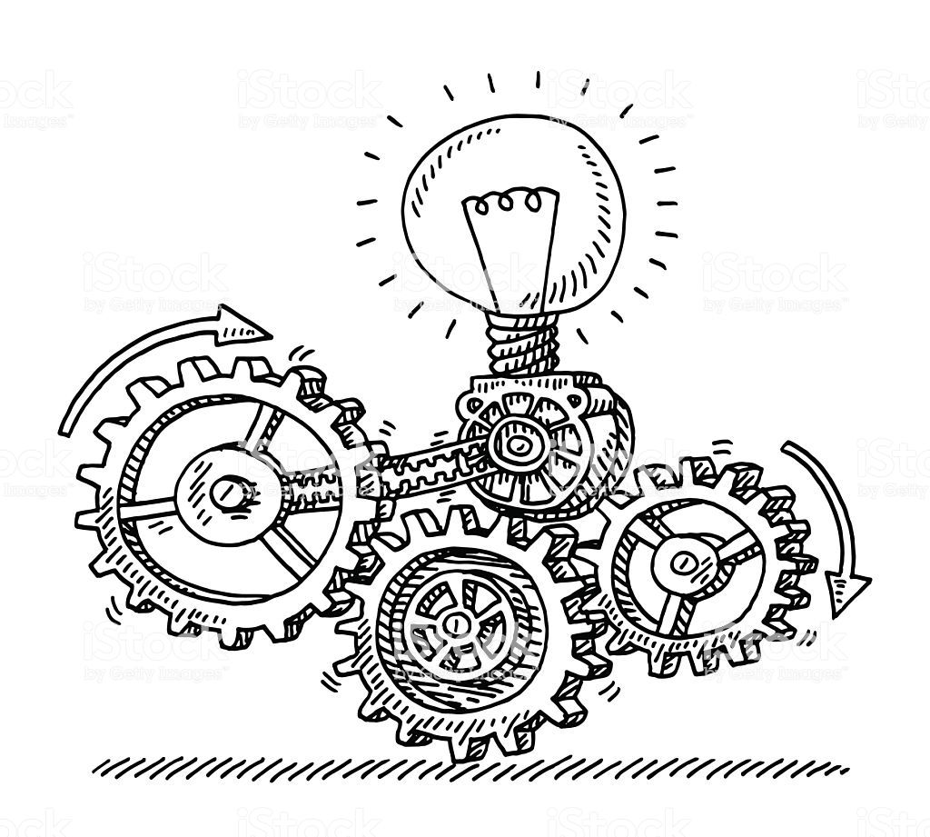 Hand Drawn Vector Drawing Of A Gear Machine Idea Generator With An Vector Drawing Hand Drawn Vector Drawings [ 921 x 1024 Pixel ]