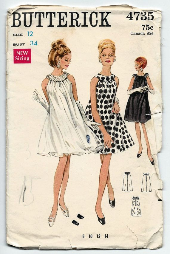 1960s Vintage Sewing Pattern Butterick 4735 Misses Retro Sleeveless ...