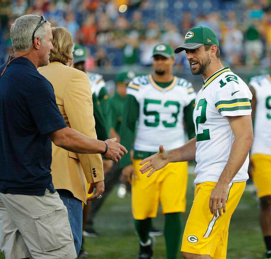 Brett Favre Aaron Rodgers Going To Shake Hands Green Bay Packers Funny Green Bay Packers Clothing Green Bay Packers Football