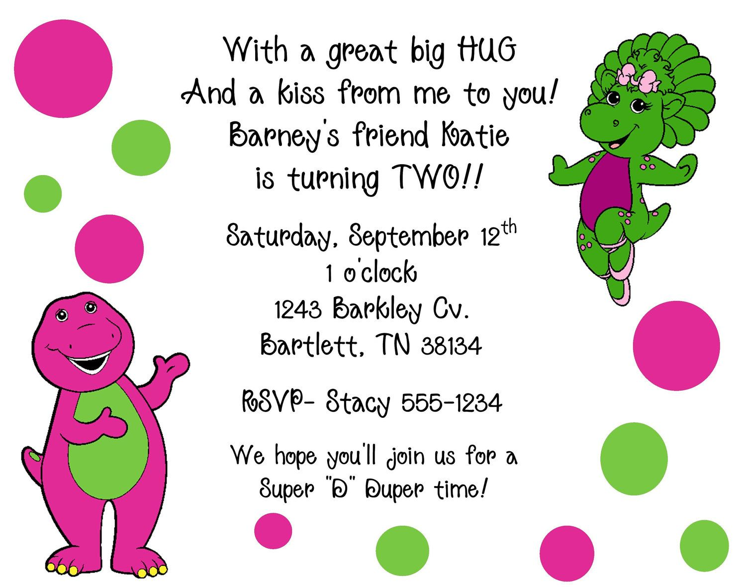 10 Barney & Baby Bop Invitations with Envelopes. Free Return ...