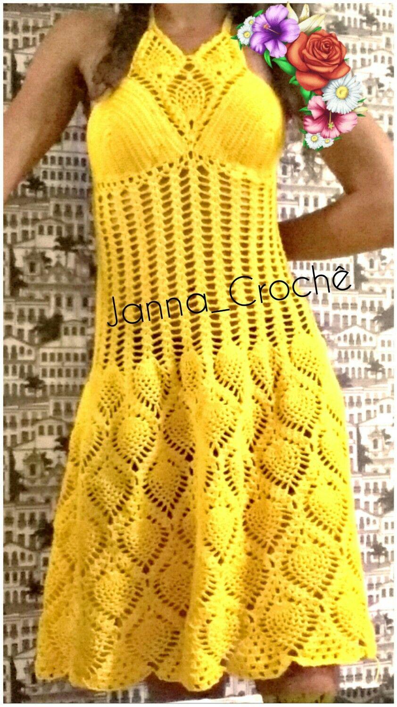 523ef3d26 Vestido de crochê em ponto abacaxi, cor amarelo ouro. | Crochet ...