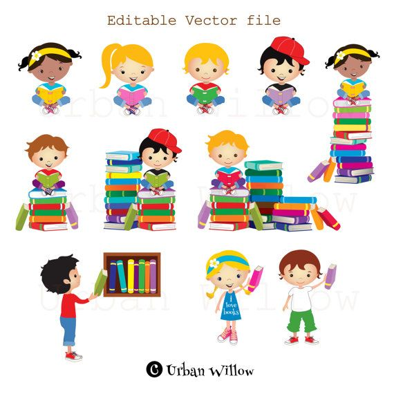 Clip Art Kids Reading Books Graphics School Kid Cute Graphics
