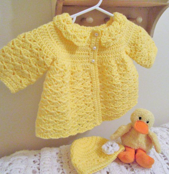 Sweater Set Newborn to 2 Year Baby girl Sweater Hat with Pom Poms
