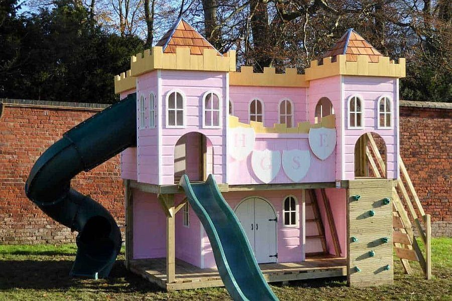 Bespoke Wooden Garden Playhouses And Climbing Frames For Children Design Create Play Garden Playhouse Kids Castle Play Houses