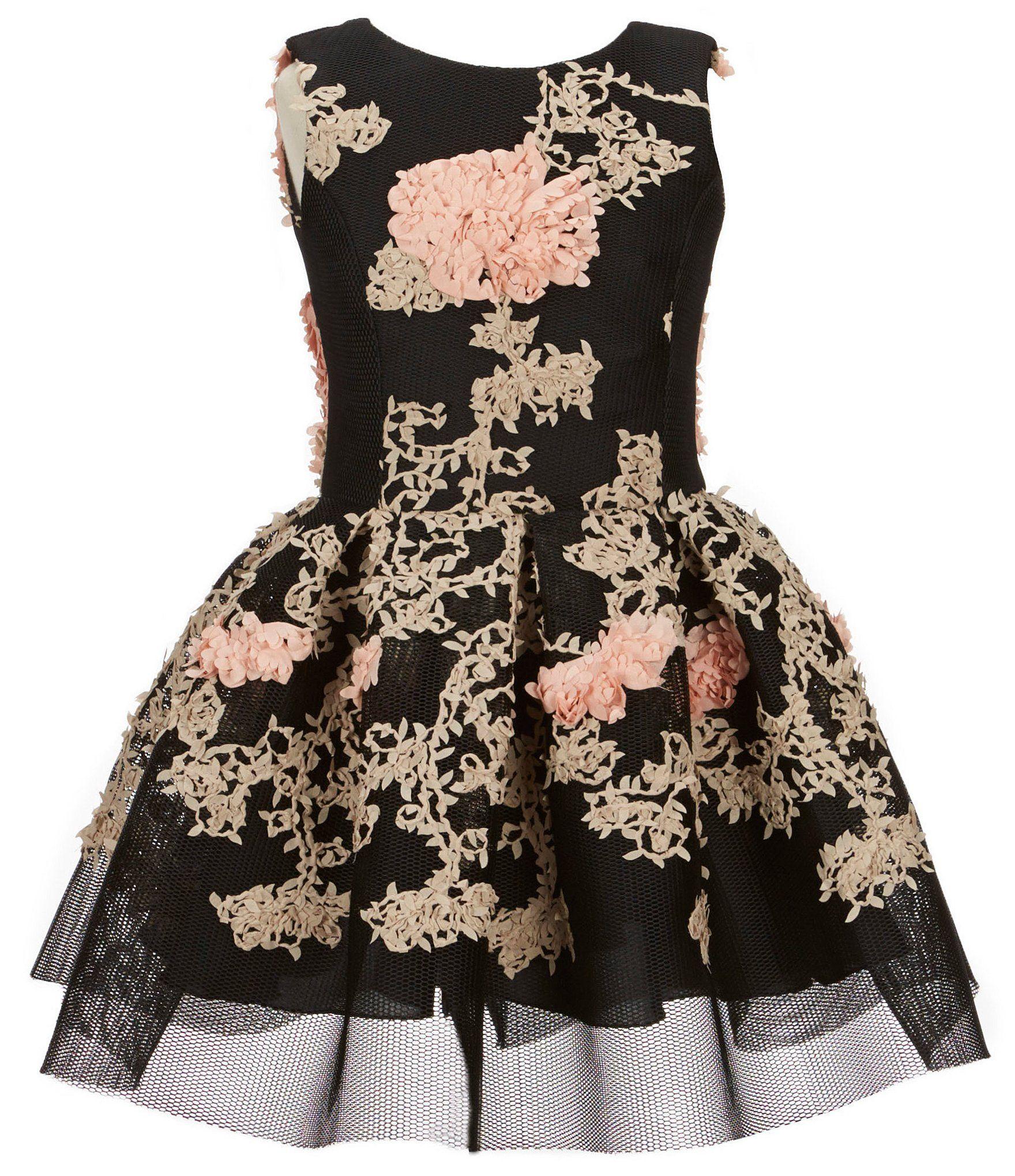 3c971b420246ca Zoe Big Girls 716 Mila Sleeveless Pleated Floral Mesh Dress  Dillards