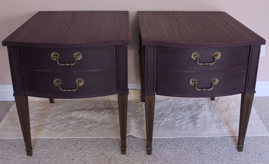 Refinished Solid Wooden End Bed Side Tables done in Country Chic