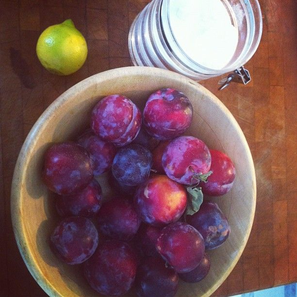 Step one of plum jam on a Saturday