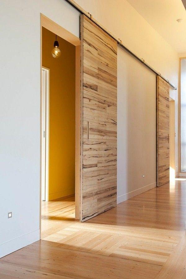 Porte Coulissante En Bois à Lintérieur Ambiance Intérieure Moderne - Porte placard coulissante et porte intérieure moderne design