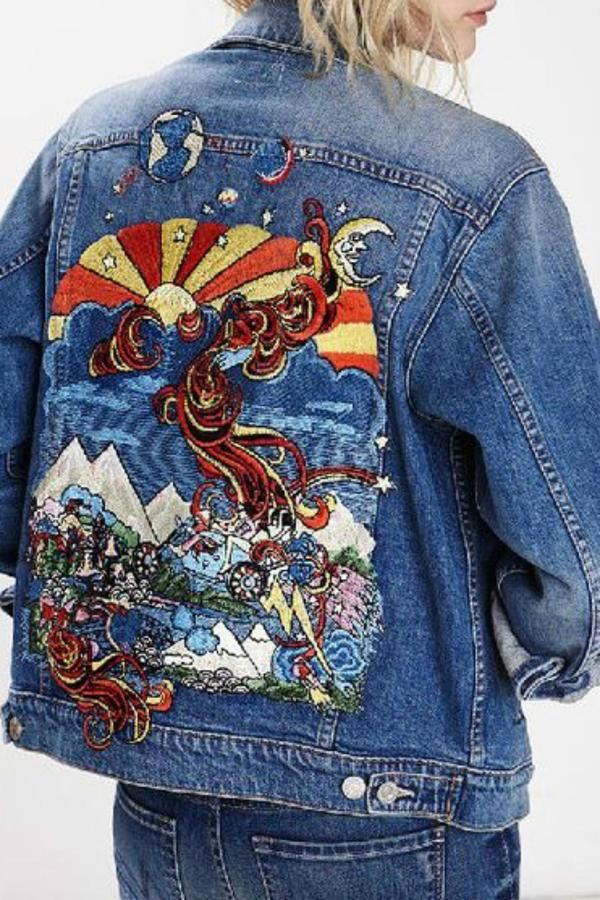 Fashion Embroidered Fringed Denim Jacket