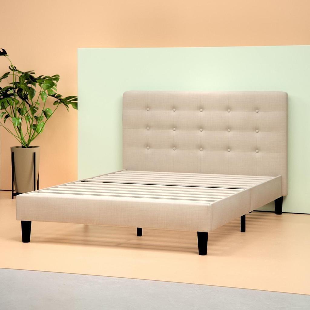 Zinus Upholstered Button Tufted Platform Bed Frame In Beige