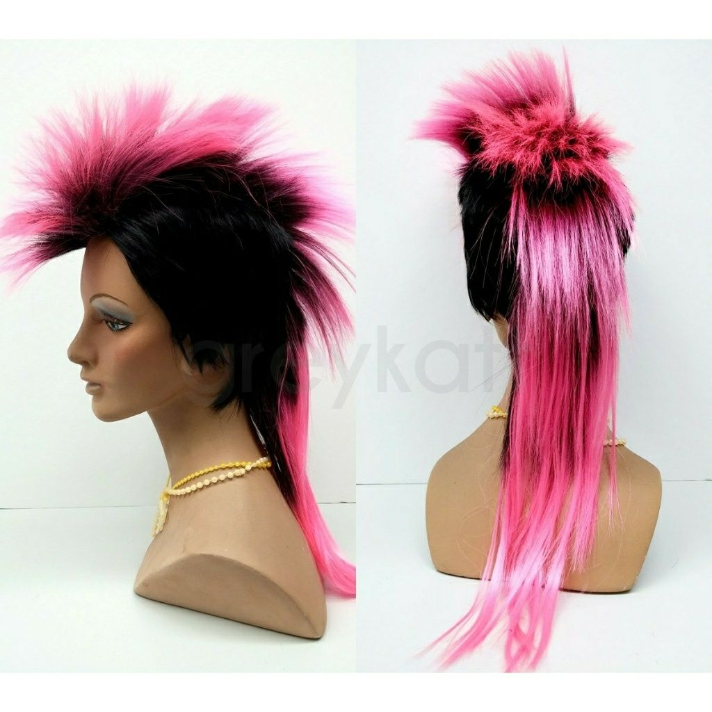 Pink and black mohawk wig mohawks wig and products