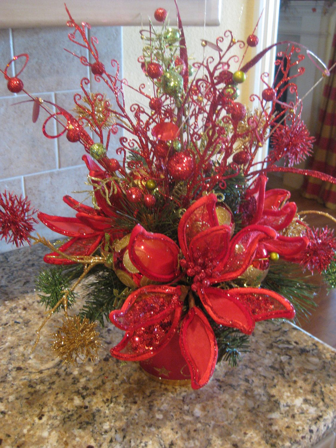 Poinsettia Arrangement Christmas flower arrangements
