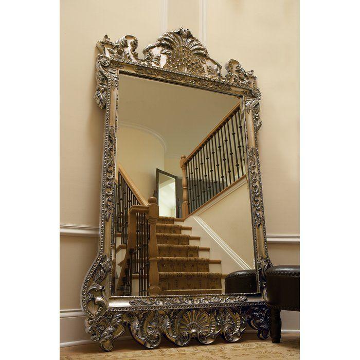Traditional Beveled Full Length Mirror Floor Mirror Silver Wall Mirror Mirror Wall