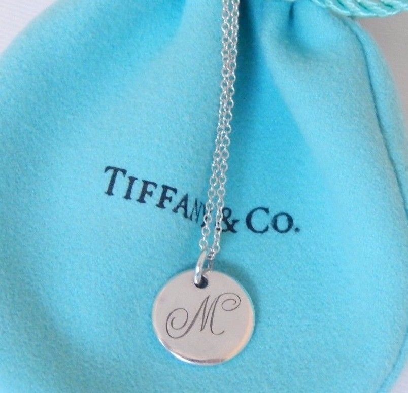 9658abece Tiffany & Co Silver Alphabet Letter M Round Circle Disc Charm Pendant  Necklace #TiffanyCo