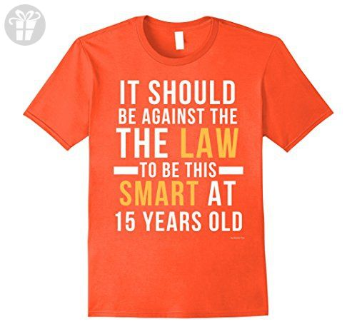 Men's 15th Birthday T Shirt For 15 Year Old Birthday Boys & Girls Large  Orange -