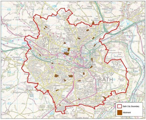 Map showing Bath City boundary and location of allotments Maps of