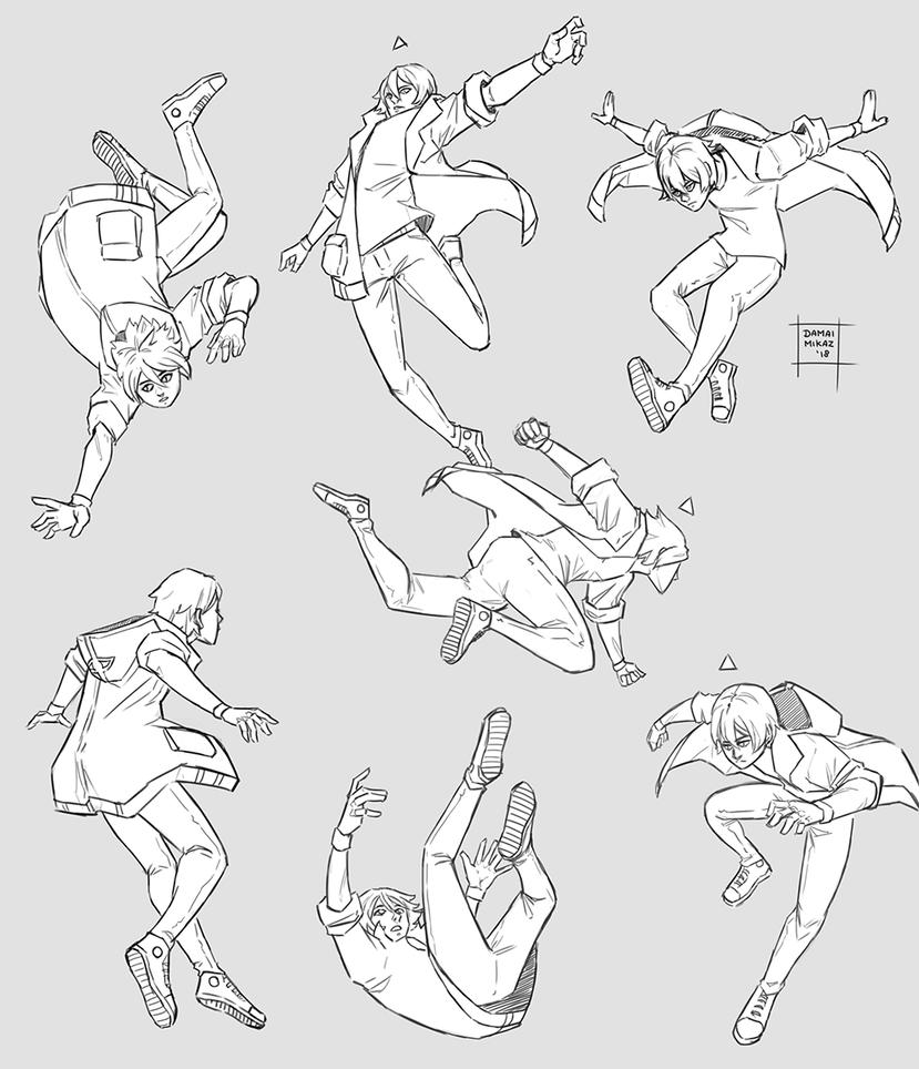 Sketchdump January 2018 Flying Poses By Https Www Deviantart Com Damaimikaz On Deviantart Pose Reference Art Reference Poses Anime Poses Reference