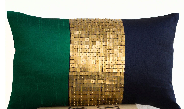 Beaded throw pillow cover emerald green navy blue gold color block