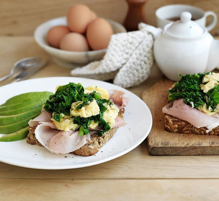 Green eggs and ham with avocado