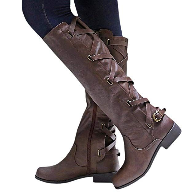 0d84a5d49b24 Syktkmx Womens Lace Up Strappy Knee High Motorcycle Riding Low Heel Winter  Leather Boots
