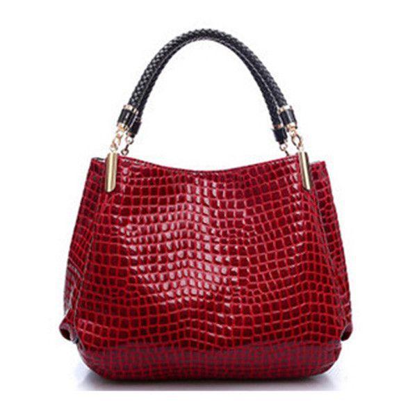 Designer Leather Alligator Shoulder Bag