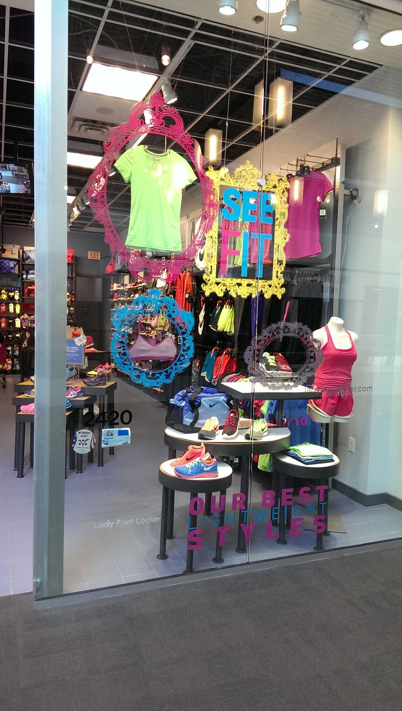 c79d8e9fc Lady Foot Locker shows off their best lightweight running styles in their  window! Snag all of your favorite running apparel here!