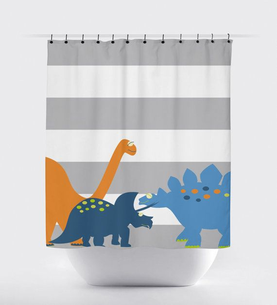 Shower curtain, dinosaur shower curtain, kids shower curtain, shower ...