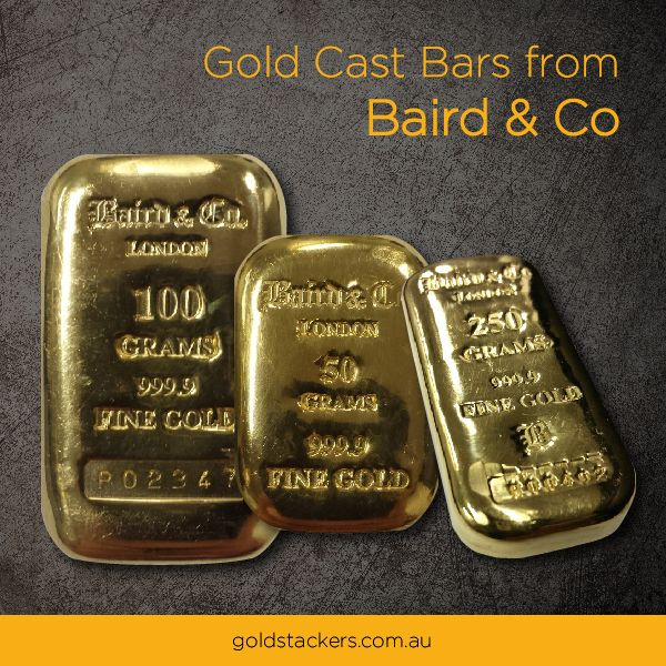 Gold Cast Bars In A Range Of Weights From Baird And Co London 99 99 Pure Http Www Goldstackers Com Au Store Brands Baird Baird 50 Gram Baird Gold Bar Gold