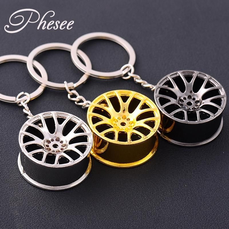 Phesee Black Gold Color Cool Luxury Metal Keychains Car Key Chain