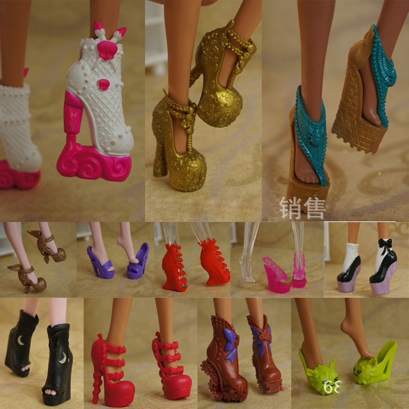 US $3.98 (Buy here: http://appdeal.ru/3i2k ) 5Pairs/Lot Free Shipping Fashion Shoes For Monster Dolls Beautiful High Heels Monster Doll Sandals Boots Mixed-Style Shoes for just US $3.98