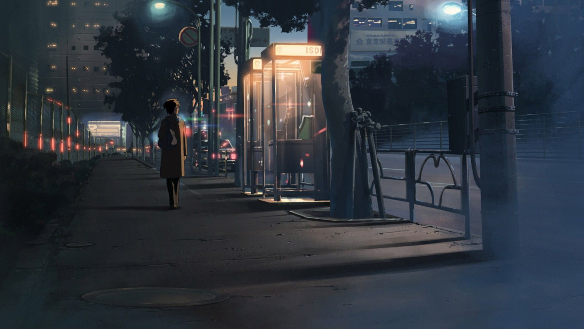 anime 1920x1080 night city 5 centimeters per second