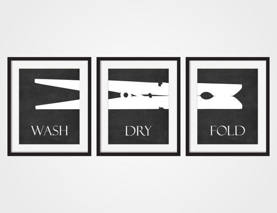 Laundry Room Wall Art Print Wash Dry Fold Faux Chalkboard Art