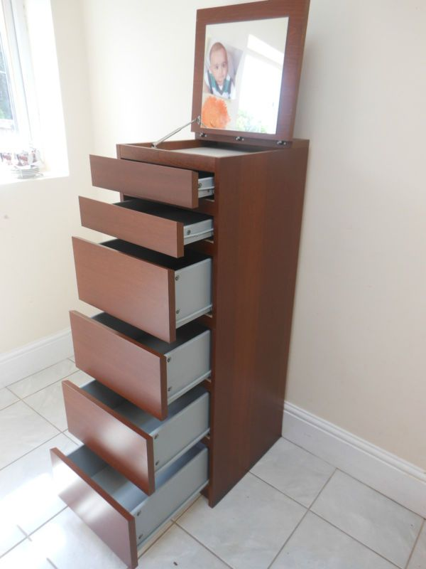 MALM Chest of 6 Drawers Mirror Glass in 3 Designs