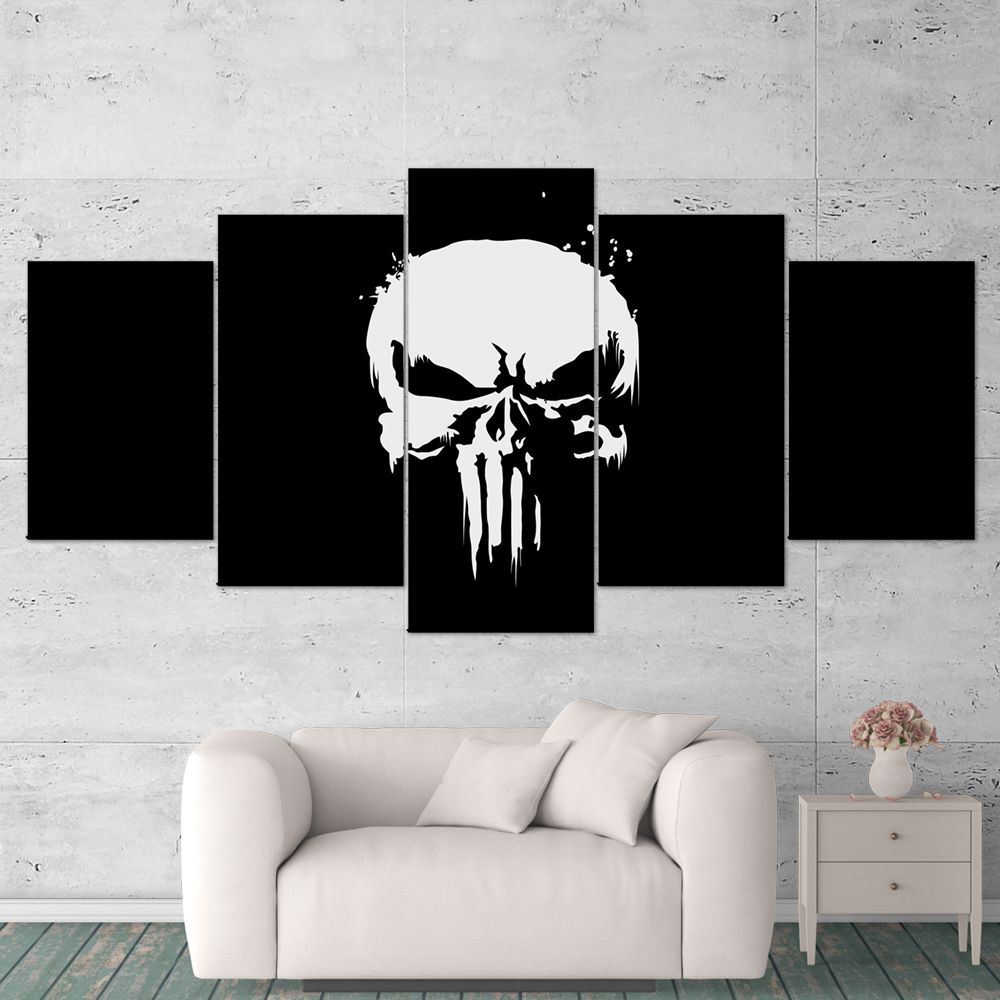 The Punisher 01 Logo 5 Piece Canvas Wall Art Gaming Canvas Gaming Wall Art Canvas Wall Art Punisher Artwork