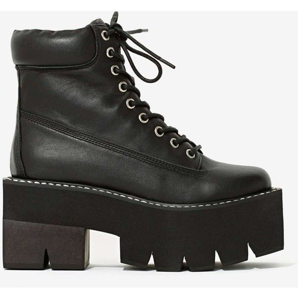 Jeffrey Campbell Nirvana Leather Boot (85.465 CLP) ❤ liked on Polyvore featuring shoes, boots, platforms, bkmle, chunky black boots, lace-up platform boots, genuine leather boots, lug sole platform boots e faux leather boots