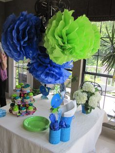 Blue Green Baby Shower Decorations For