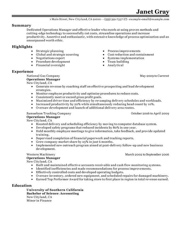 Operations Manager Resume Sample Perfect Director Example Operations Management Manager Resume Resume Examples