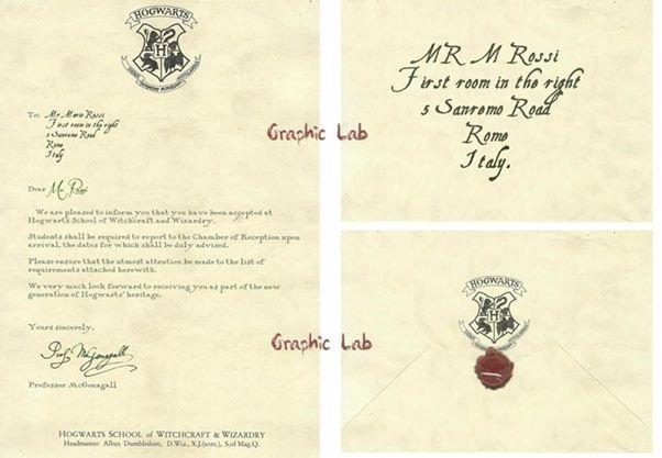 Lettera Di Accettazione Ad Hogwarts Personalizzata Con I Vostri