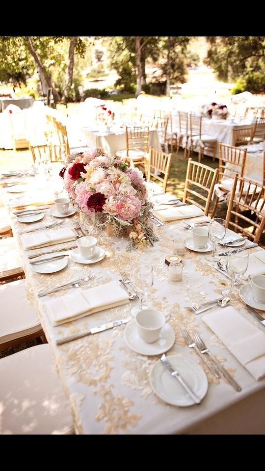 Cream And Gold Embroidered Organza Table Overlay