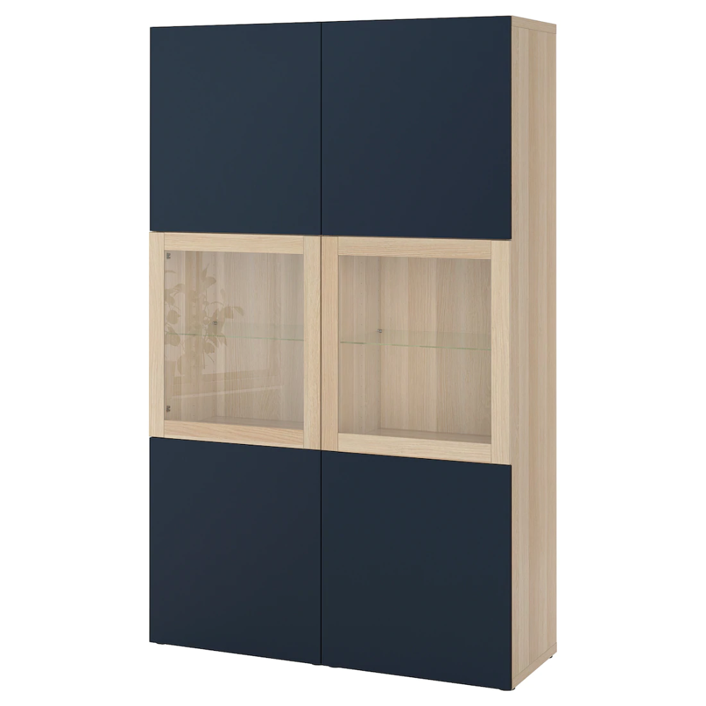Besta Combinaison Rangement Ptes Vitrees Effet Chene Blanchi Notviken Bleu Verre Transparent 120x42x192 Cm Ikea En 2020 Glass Door Ikea Rangement